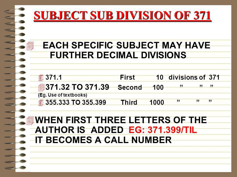 SUBJECT SUB DIVISION OF 371