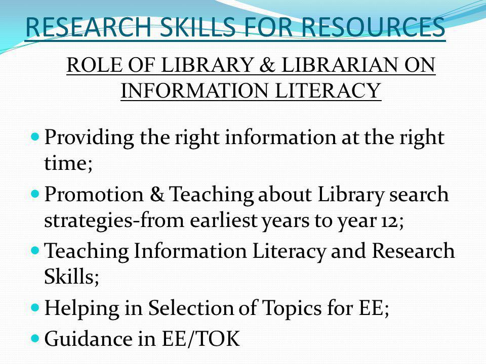 RESEARCH SKILLS FOR RESOURCES