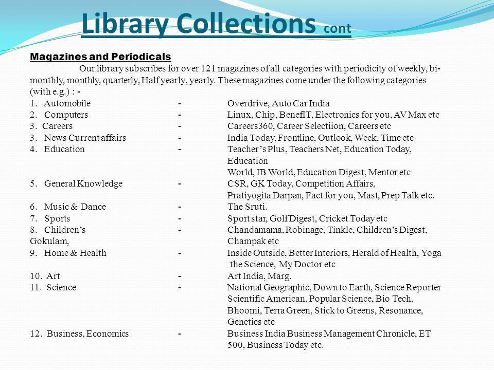 Library Collections cont