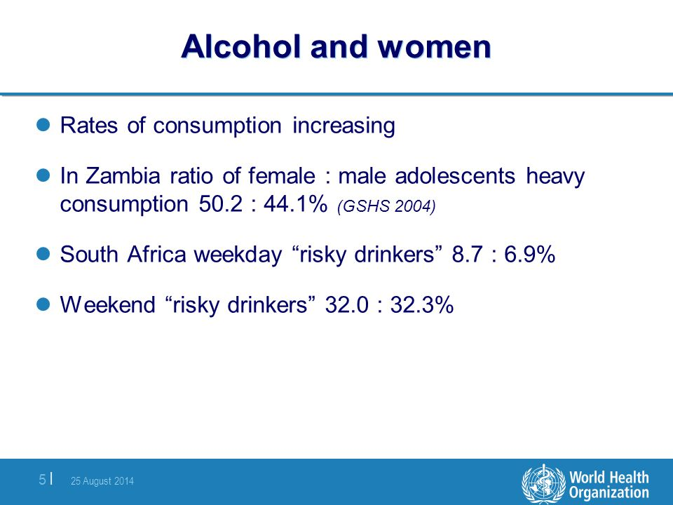 Alcohol and women Rates of consumption increasing