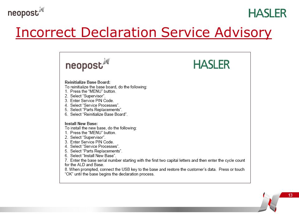 Incorrect Declaration Service Advisory