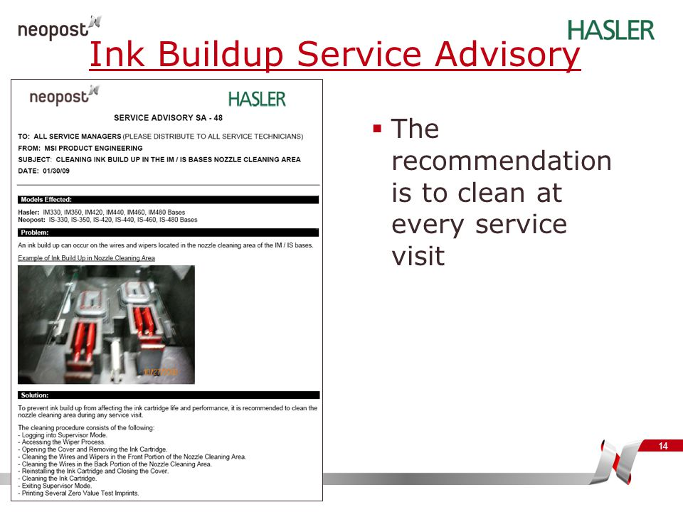 Ink Buildup Service Advisory