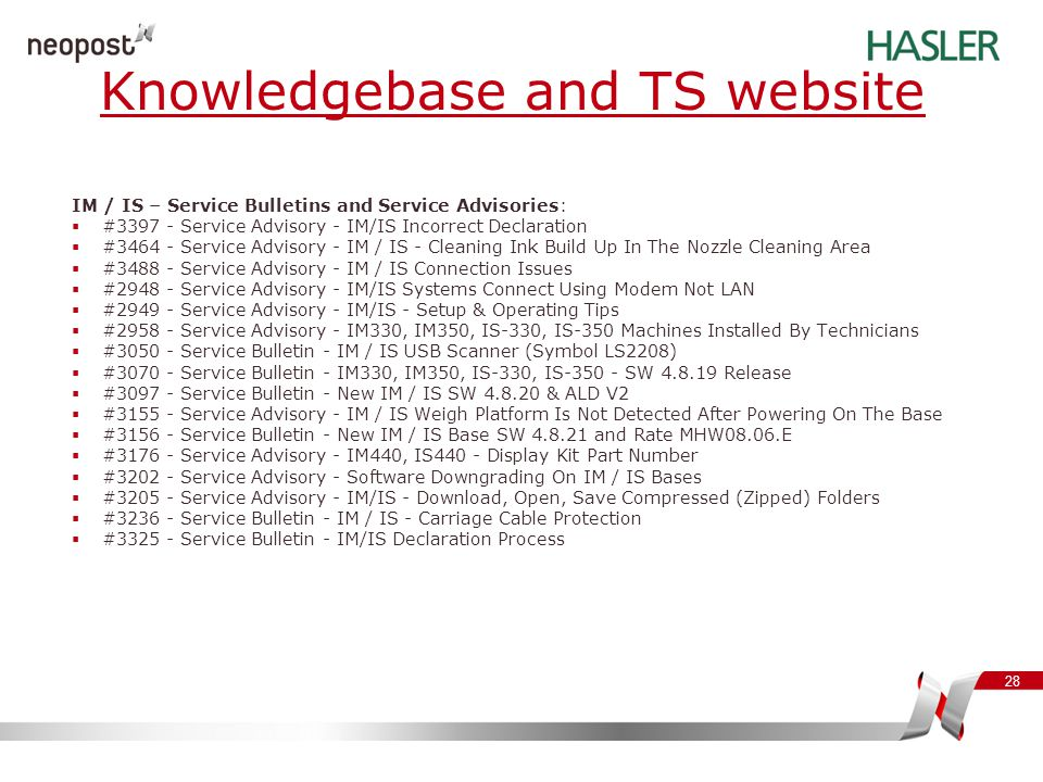 Knowledgebase and TS website