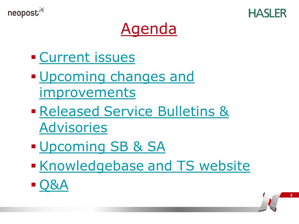 Agenda Current issues Upcoming changes and improvements