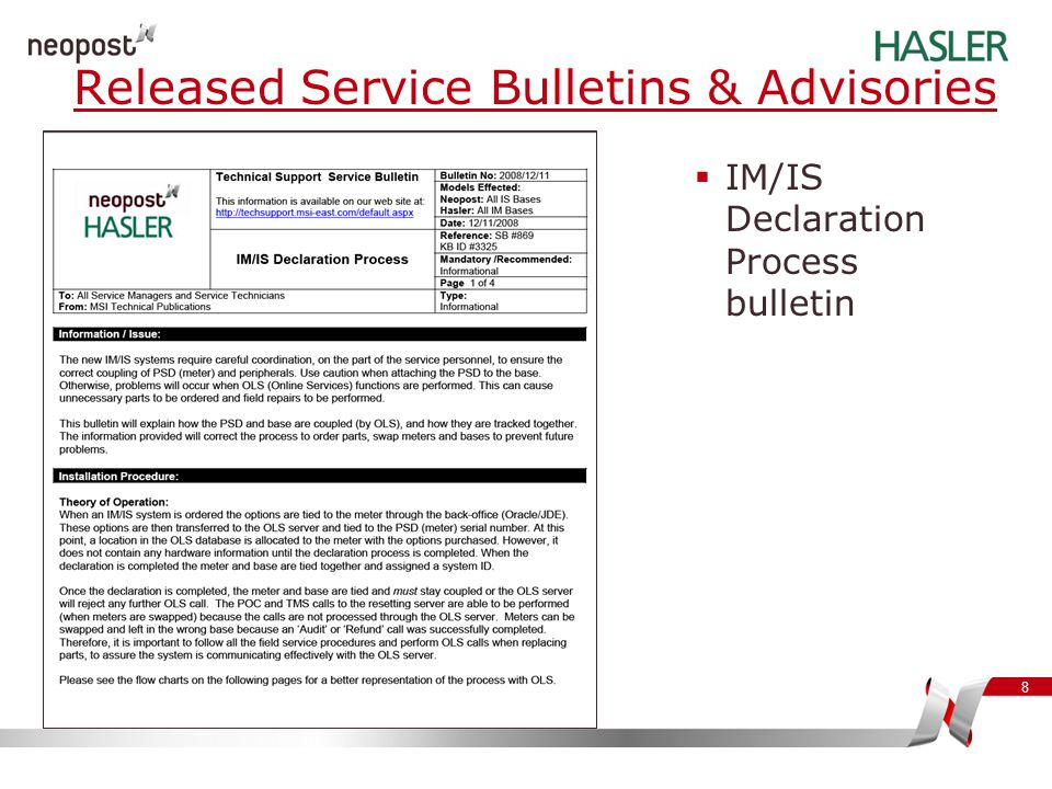 Released Service Bulletins & Advisories