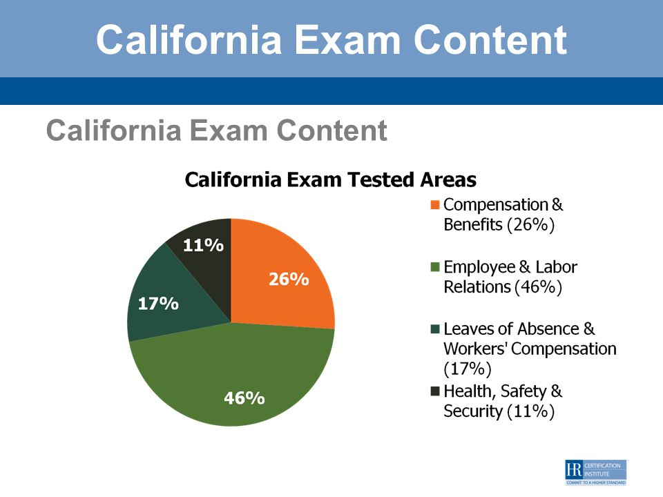 California Exam Content