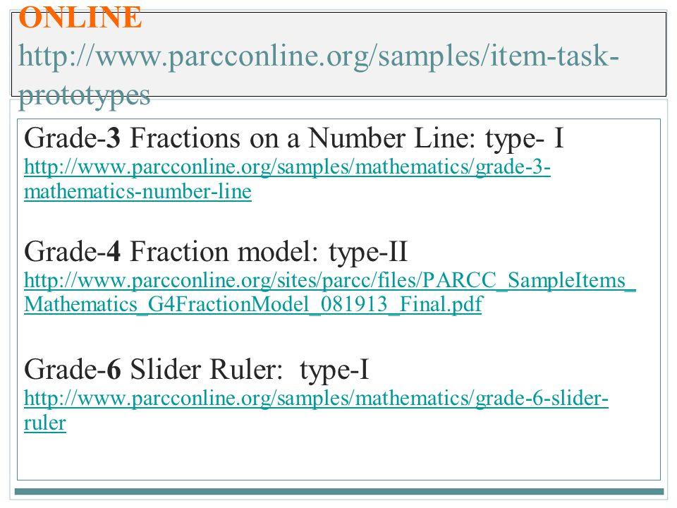 ONLINE http://www.parcconline.org/samples/item-task-prototypes