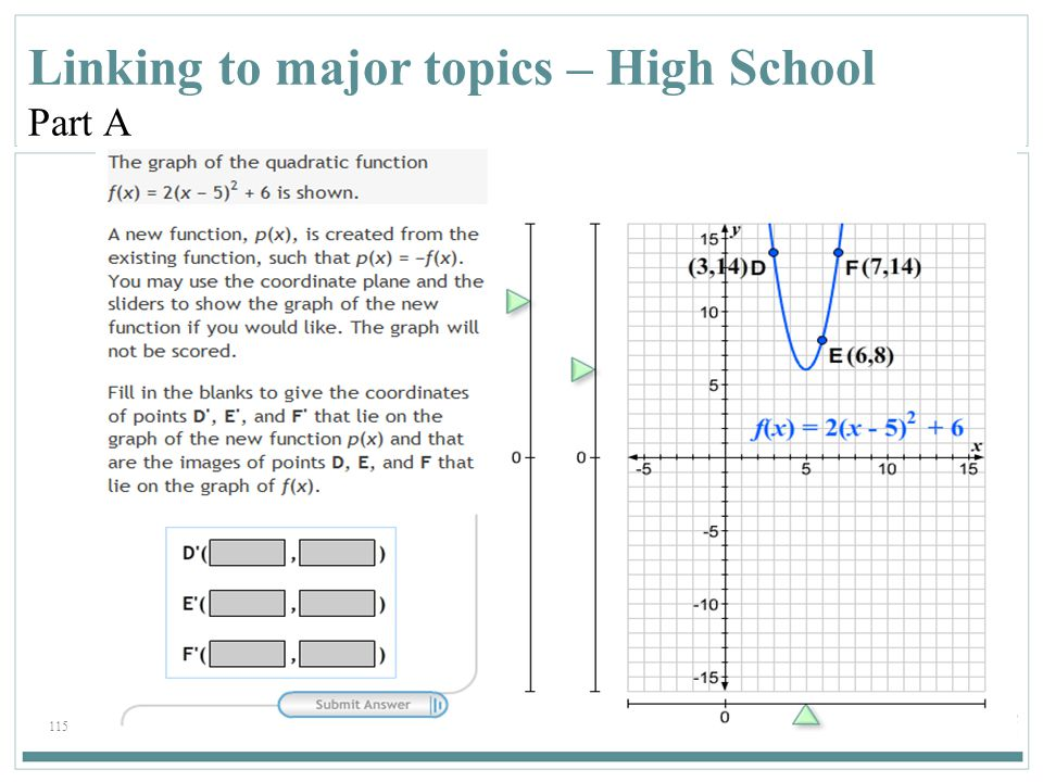 Linking to major topics – High School Part A