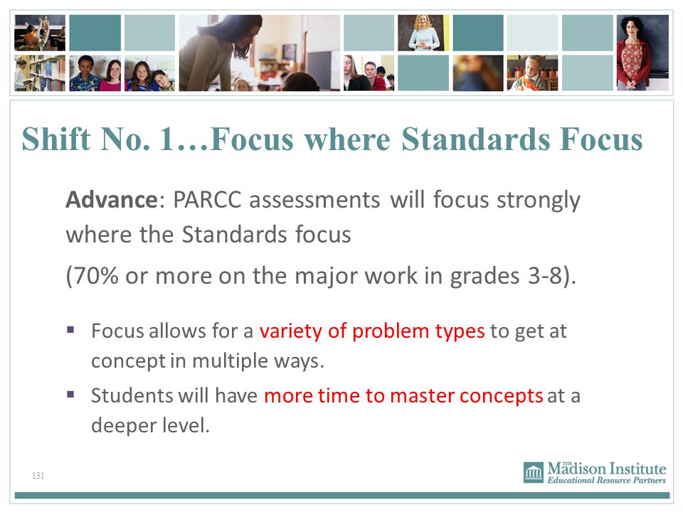 Shift No. 1…Focus where Standards Focus