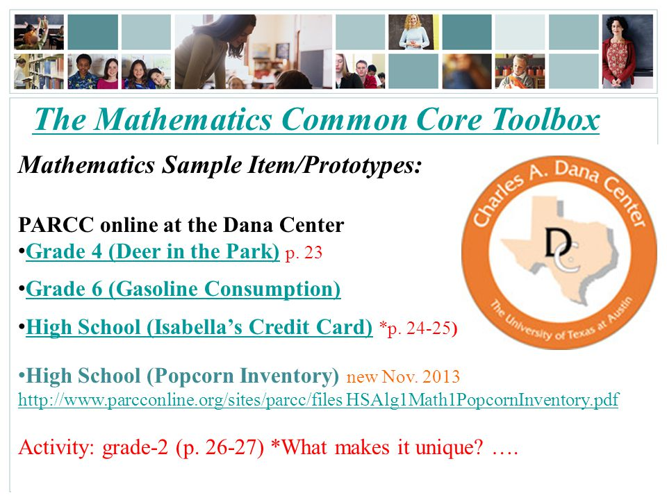 The Mathematics Common Core Toolbox