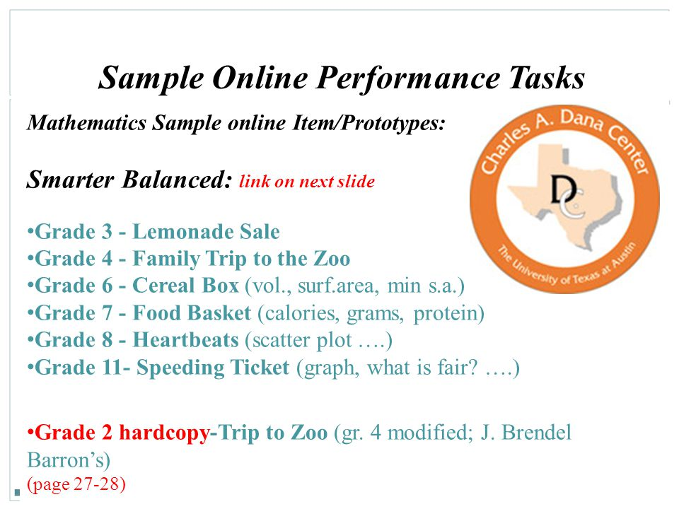 Sample Online Performance Tasks