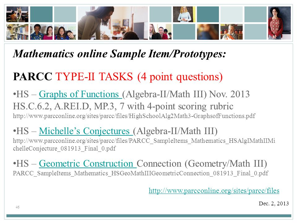 Mathematics online Sample Item/Prototypes: