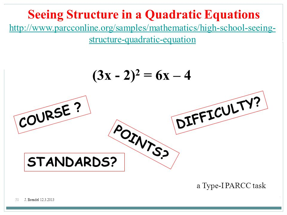 Seeing Structure in a Quadratic Equations