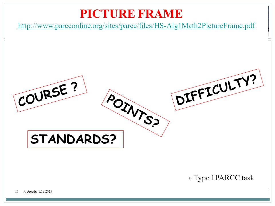 PICTURE FRAME DIFFICULTY COURSE POINTS STANDARDS