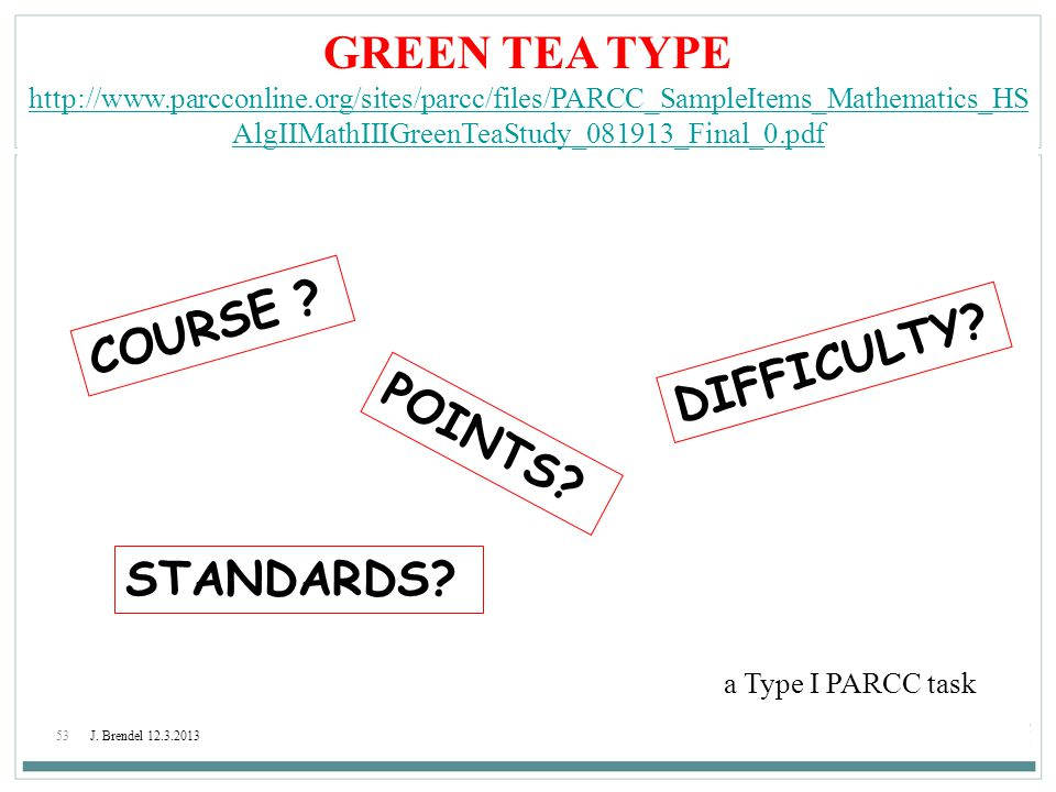 GREEN TEA TYPE COURSE DIFFICULTY POINTS STANDARDS