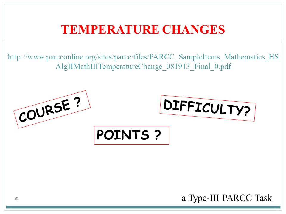 TEMPERATURE CHANGES COURSE DIFFICULTY POINTS