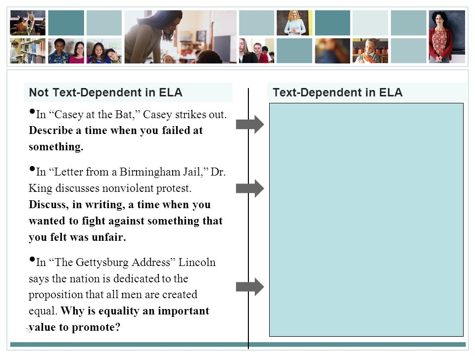 Not Text-Dependent in ELA Text-Dependent in ELA