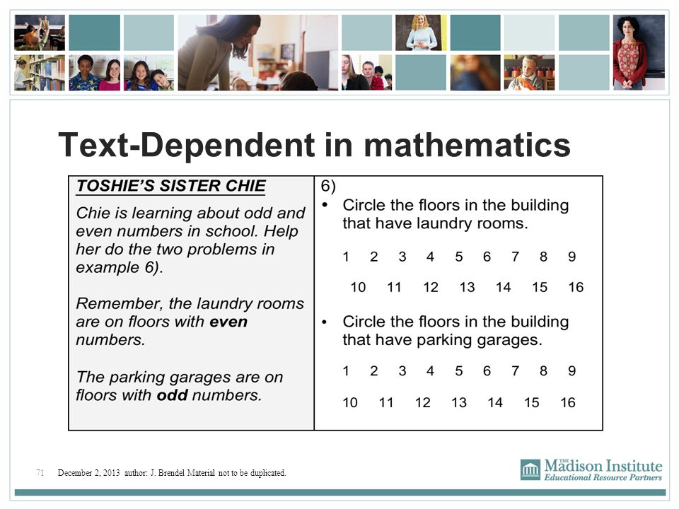 Text-Dependent in mathematics
