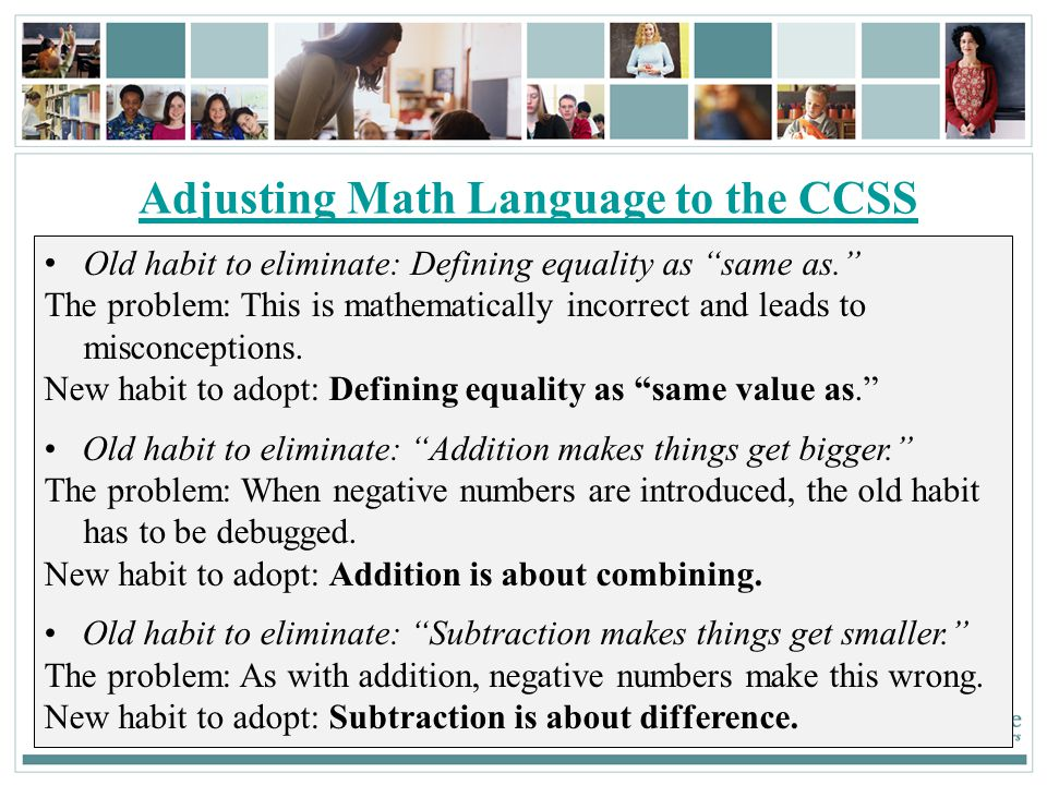 Adjusting Math Language to the CCSS