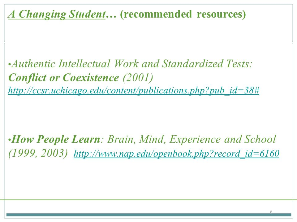 A Changing Student… (recommended resources)
