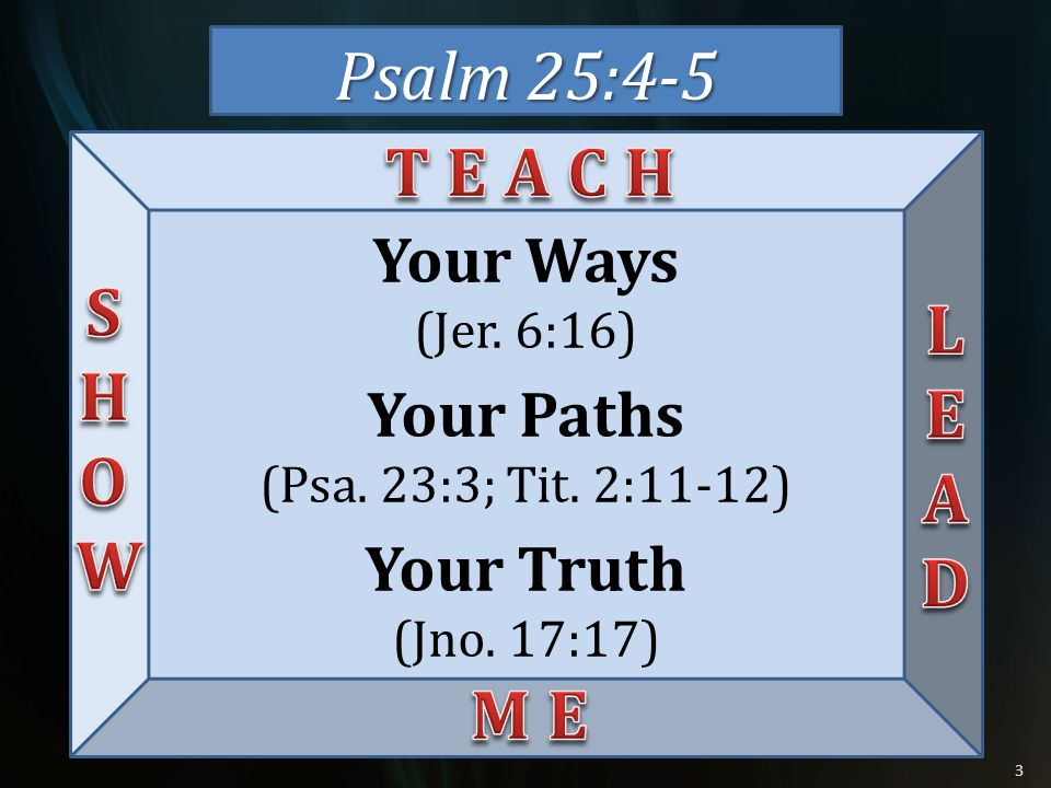 Psalm 25:4-5 T E A C H S H O W L E A D M E Your Ways Your Paths