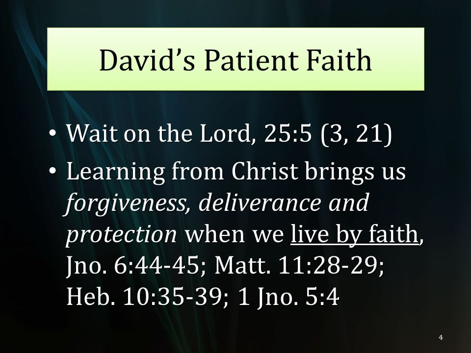 David's Patient Faith Wait on the Lord, 25:5 (3, 21)