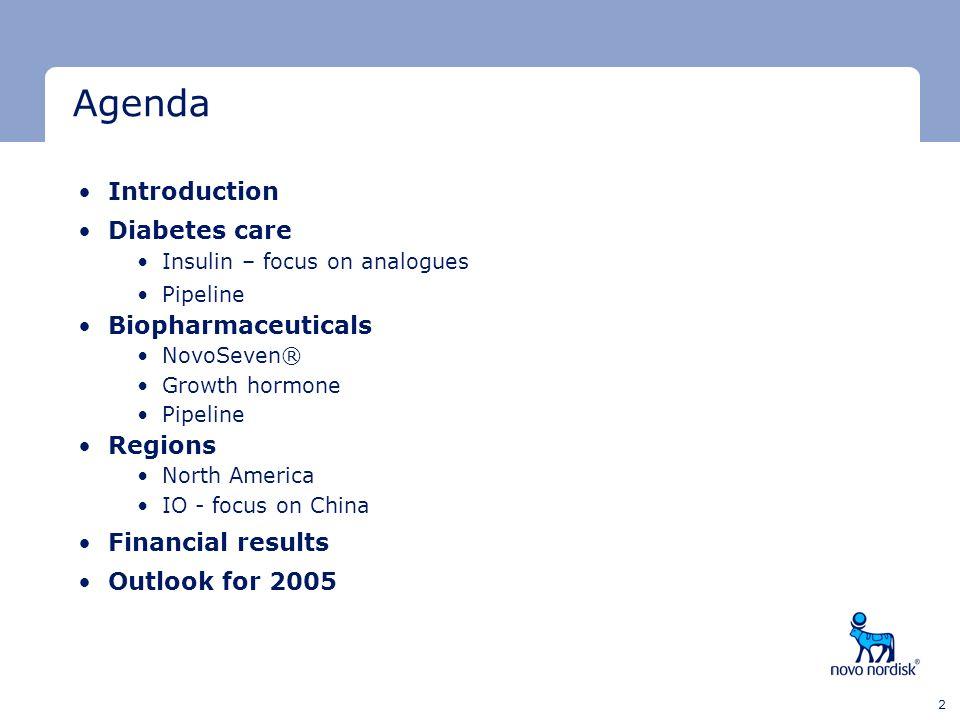 Agenda Introduction Diabetes care Biopharmaceuticals Regions