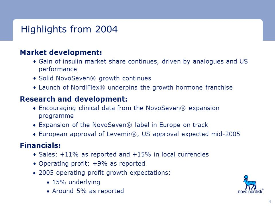 Highlights from 2004 Market development: Research and development: