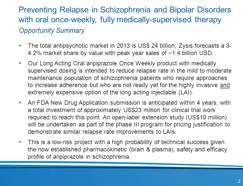 Preventing Relapse in Schizophrenia and Bipolar Disorders with oral once-weekly, fully medically-supervised therapy