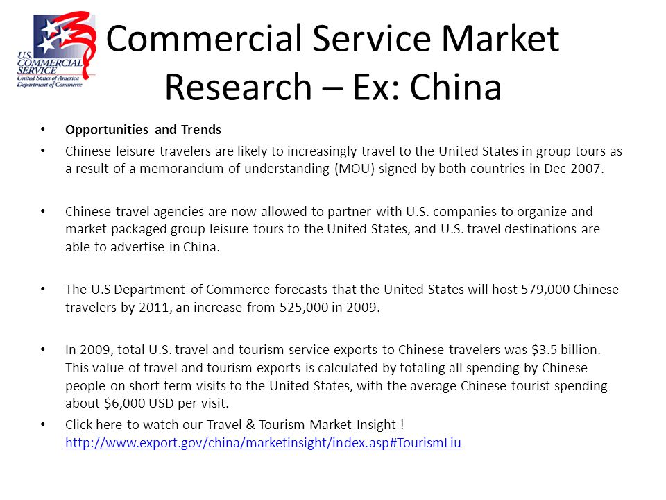 Commercial Service Market Research – Ex: China