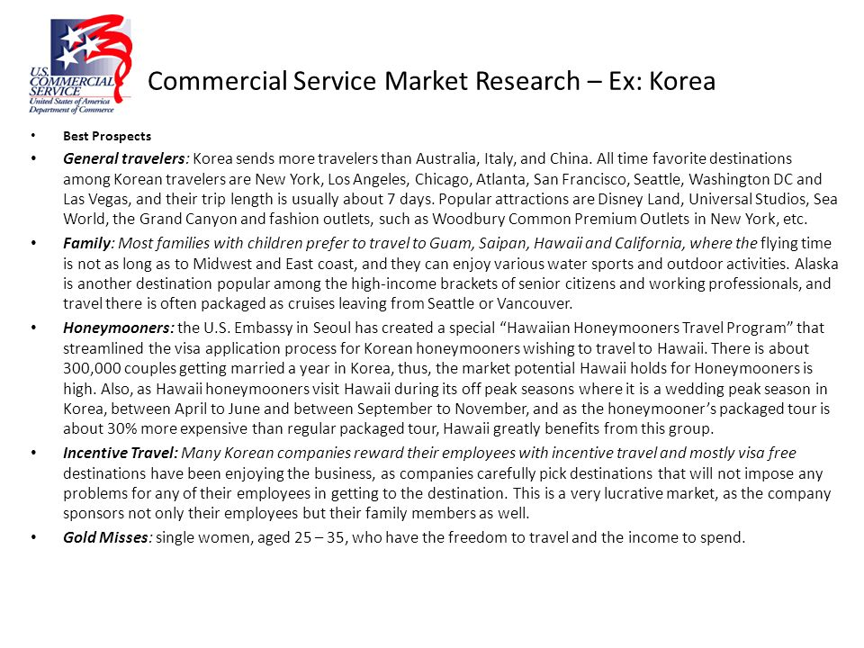 Commercial Service Market Research – Ex: Korea