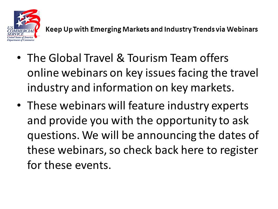 Keep Up with Emerging Markets and Industry Trends via Webinars