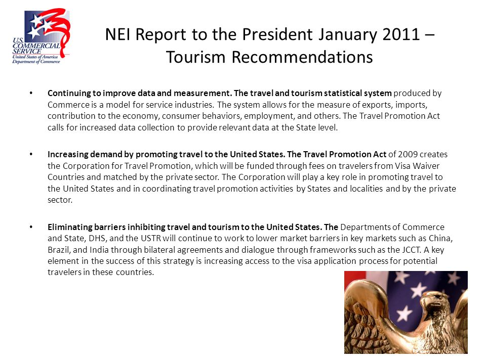 NEI Report to the President January 2011 – Tourism Recommendations