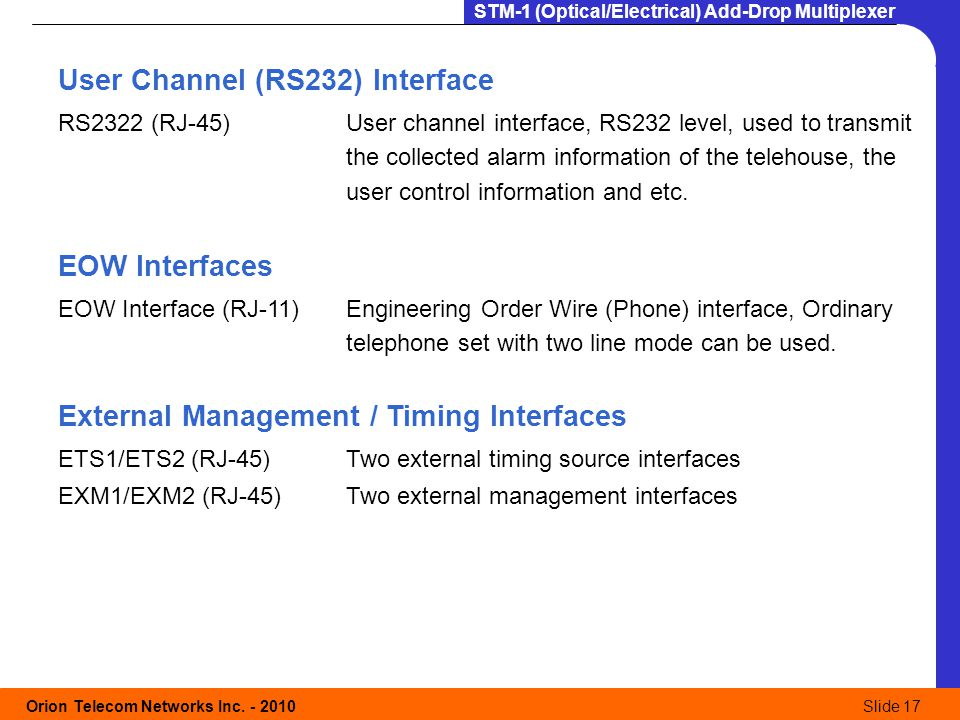 User Channel (RS232) Interface