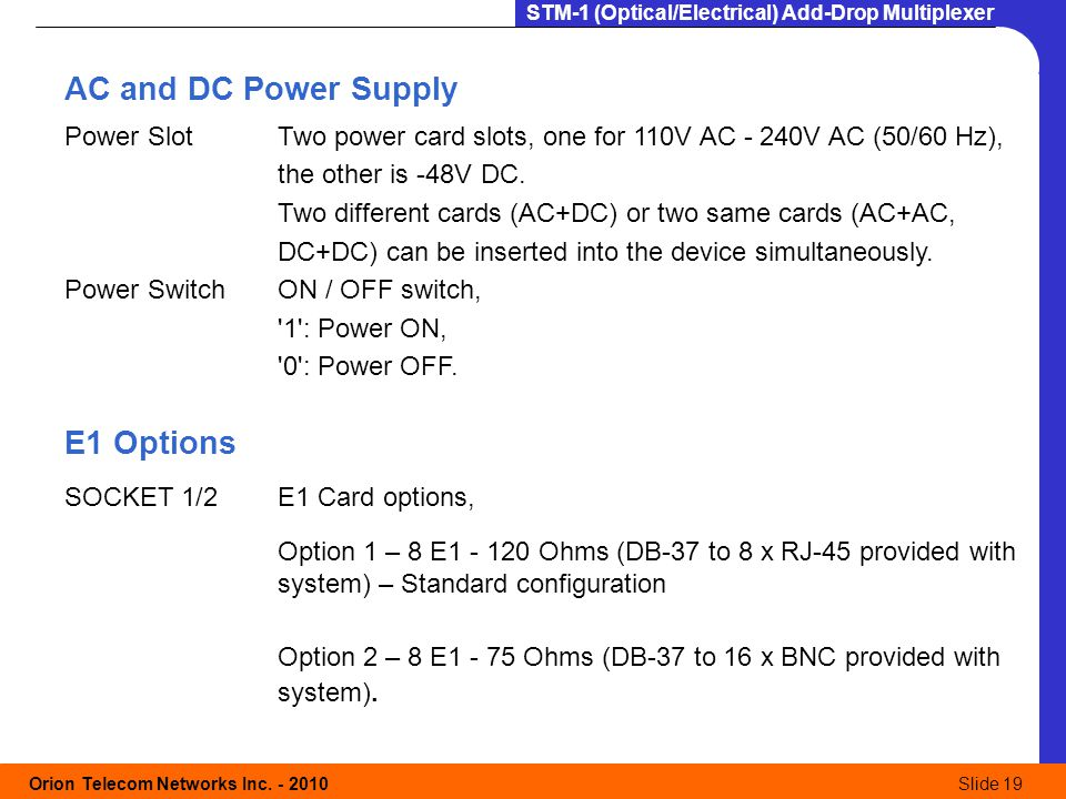 AC and DC Power Supply E1 Options