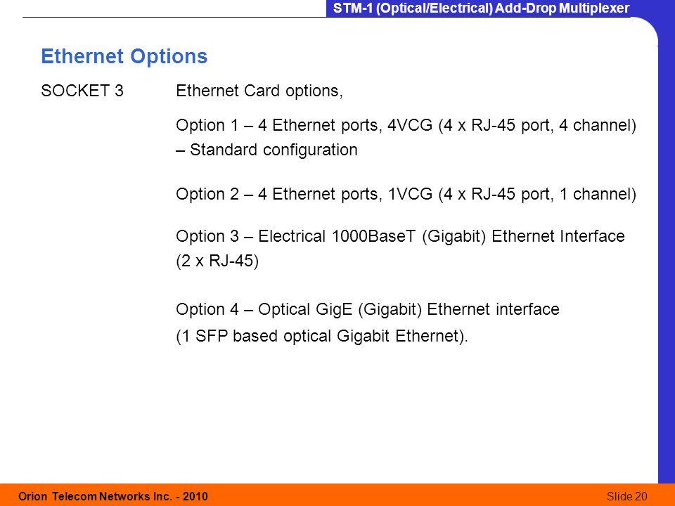Ethernet Options SOCKET 3 Ethernet Card options,