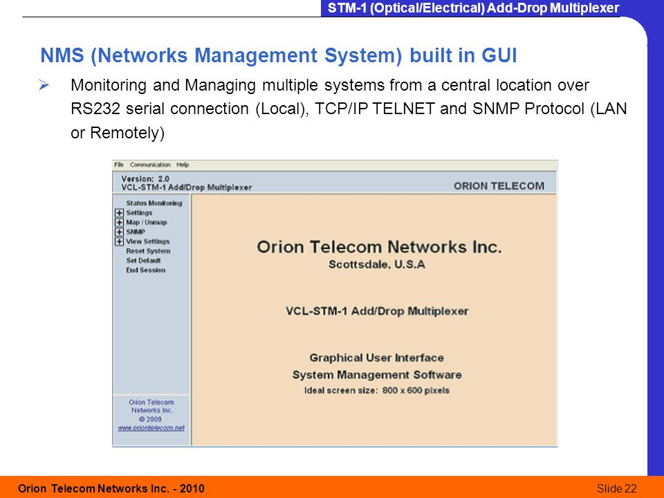 NMS (Networks Management System) built in GUI