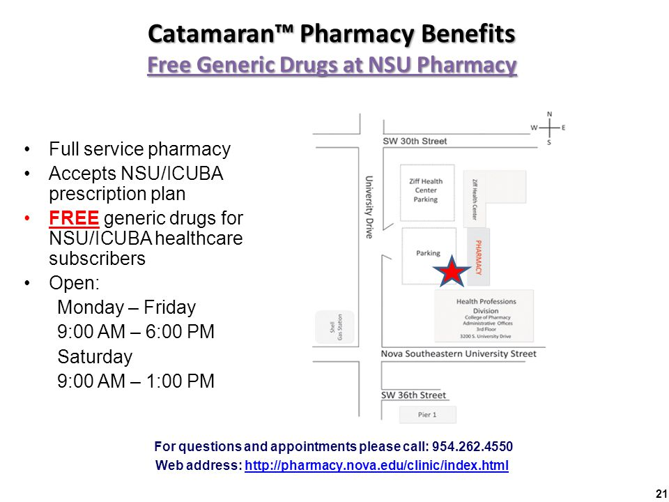 Catamaran™ Pharmacy Benefits Free Generic Drugs at NSU Pharmacy