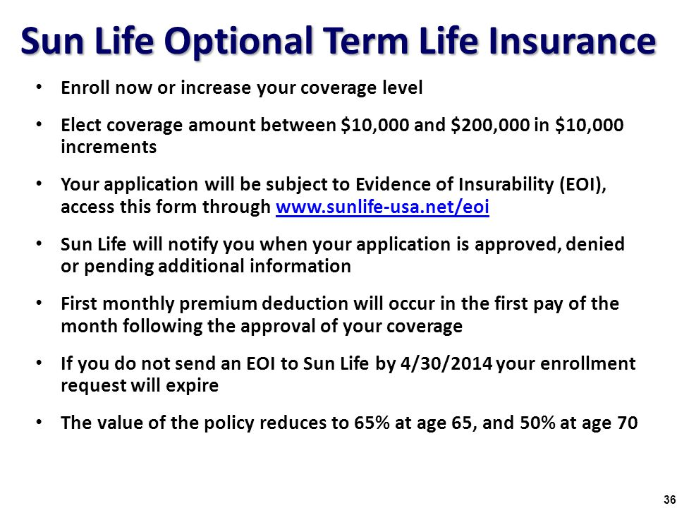 Sun Life Optional Term Life Insurance