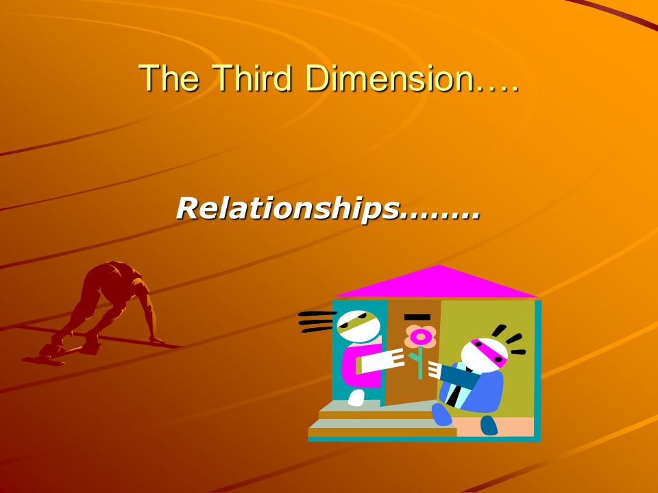 The Third Dimension…. Relationships……..