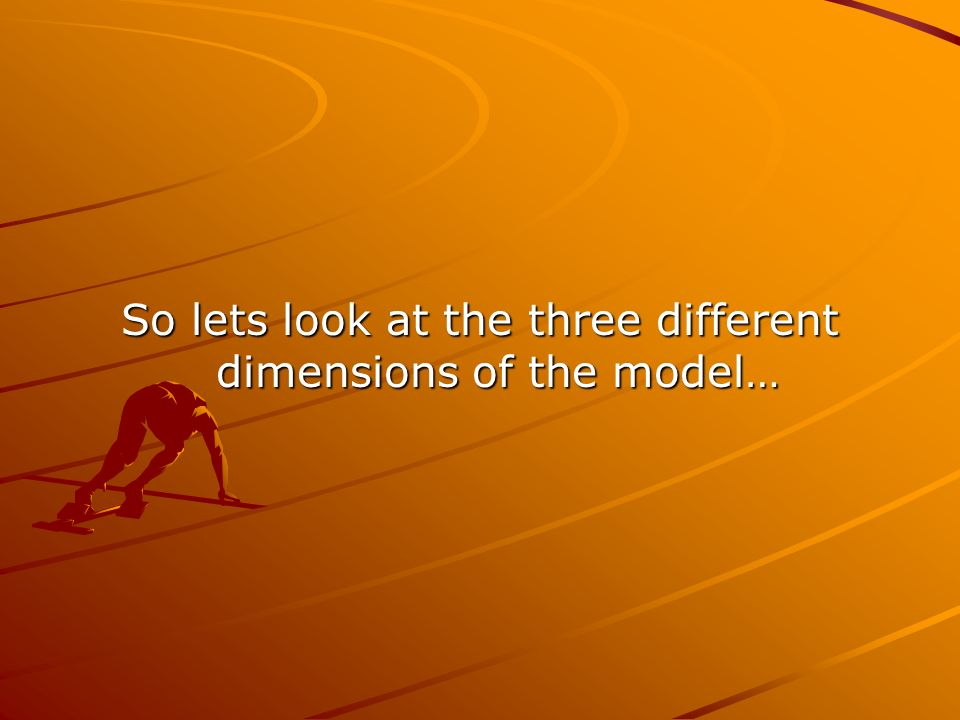 So lets look at the three different dimensions of the model…