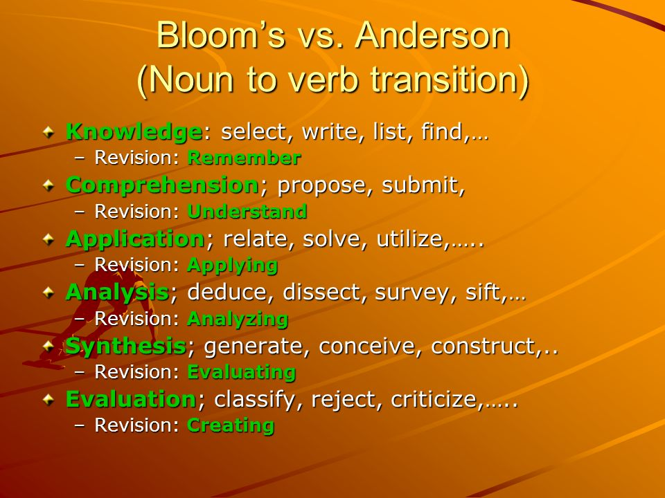 Bloom's vs. Anderson (Noun to verb transition)