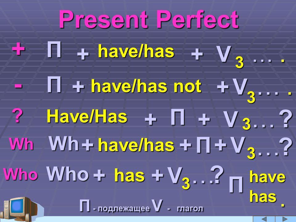 Present Perfect + . - … . … … … . П + + V … П + + V П + + V + +
