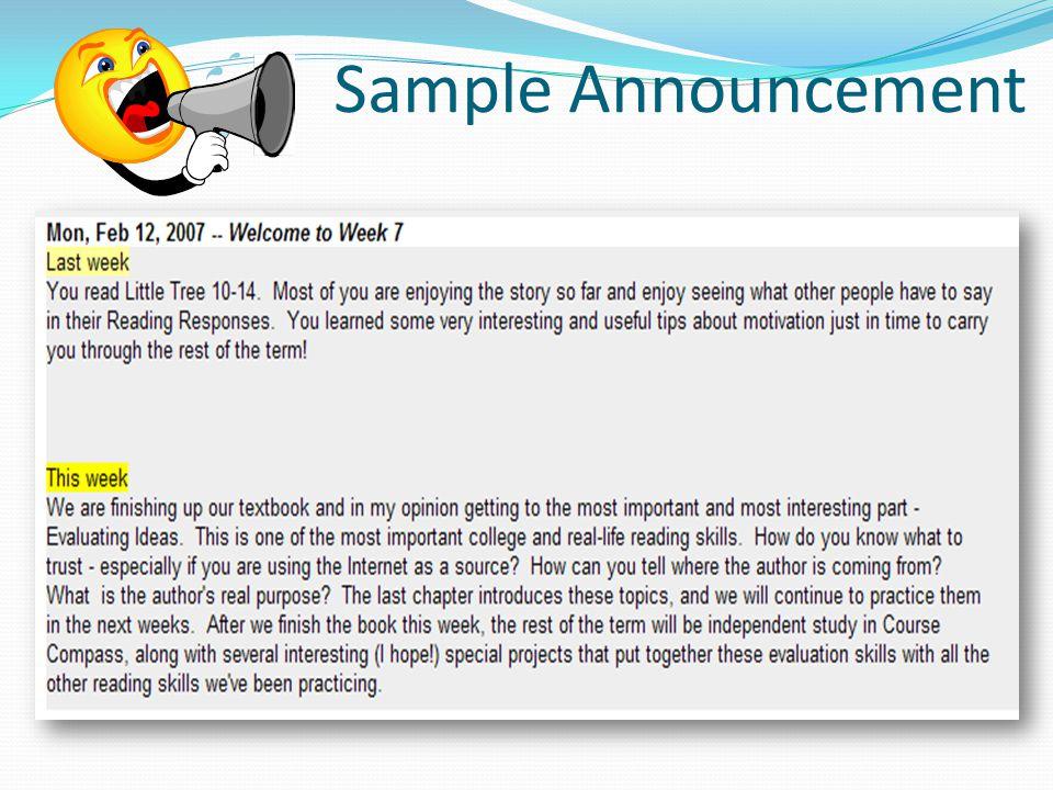 Sample Announcement
