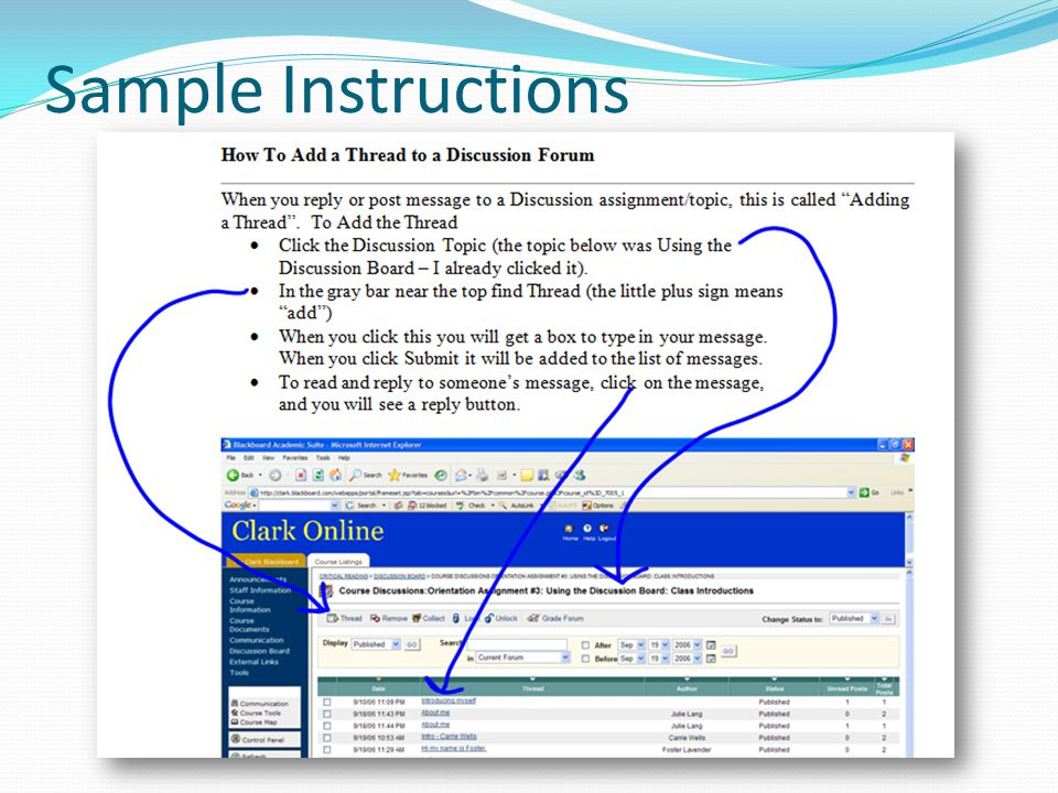 Sample Instructions