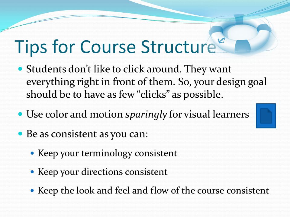 Tips for Course Structure