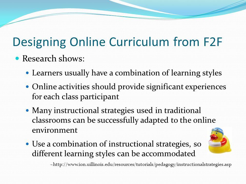 Designing Online Curriculum from F2F