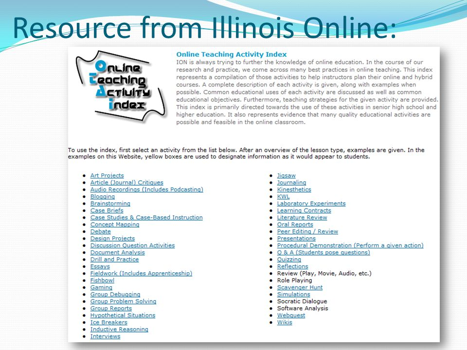 Resource from Illinois Online: