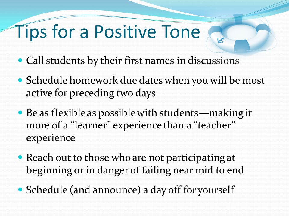 Tips for a Positive Tone