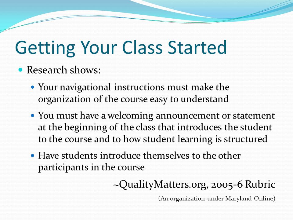 Getting Your Class Started